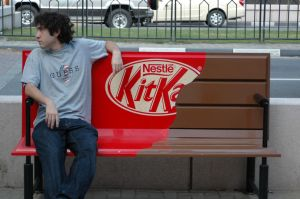 Kit Kat candy bar bench illusion
